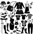 Womans clothes Fashion and Accessory icon set vector image