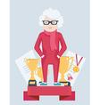 Elderly woman on a winners podium vector image
