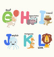 animal alphabets for children from g to l vector image