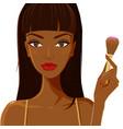 attractive woman applying blush fashion makeup vector image