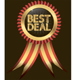 Best deal golden label with red ribbons vector image vector image