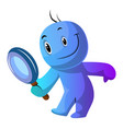 Blue cartoon caracter holding magnifying glass on