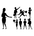 business people man and woman black silhouette vector image vector image