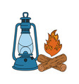 campfire camping and kerosene lantern vector image vector image