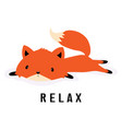 cartoon fox resting vector image