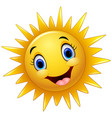 cartoon smiling sunflower character isolated white vector image