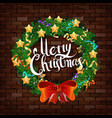 christmas wreath on the brick wall vector image vector image