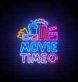 cinema neon sign movie time logo neon vector image