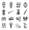 diving equipment bold black silhouette icons set vector image vector image
