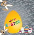 Easter bunny with Big yellow egg on a colorful vector image vector image