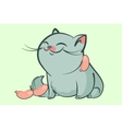 fat blue cat smile vector image vector image