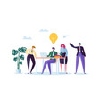 flat business people characters with laptop team vector image