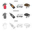 flea special car and equipment cartoonoutline vector image