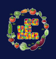 go vegan vegetables isolated on blue vector image