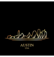 Gold silhouette of Austin on black background vector image vector image