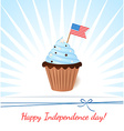 Greeting card with flag American patriotic cupcake vector image vector image