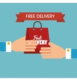 hand holds bag gift free delivery vector image