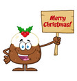 happy christmas pudding character vector image vector image