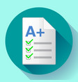 icon of successful test result a plus vector image vector image