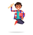 jumping indian boy student with book and bundle vector image vector image
