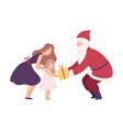 man wearing santa claus costume giving gift box to vector image vector image