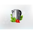 Metal kettle background vector image