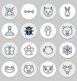 nature icons set with fish bone deer owl and vector image vector image