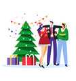 new year bush and people giving toast near vector image