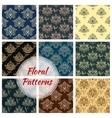 Paisley floral seamless patterns set vector image