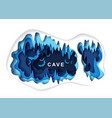 paper cut craft style cave with bat silhouettes vector image vector image