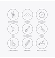 Paper knife spatula and scissors icons vector image vector image