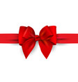 red gift bow with ribbon isolated on white vector image vector image