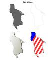 San Mateo County California outline map set vector image vector image