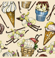 seamless pattern with ice cream and vanilla pods vector image vector image