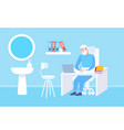 senior doctor sitting at table workplace using vector image vector image