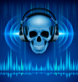 Skull in headphones Disco background vector image