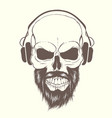 skull with beard and headphones vector image vector image