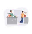 smiling family together cooking on kitchen table vector image
