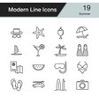 summer icons modern line design vector image vector image