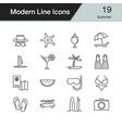 Summer icons modern line design