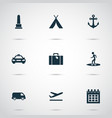 traveling icons set with calendar suitcase vector image vector image