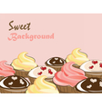 Vanilla cream and chocolate cupcakes vector image vector image