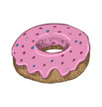 vintage donut drawing hand drawn color vector image vector image