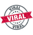 viral round grunge ribbon stamp vector image vector image
