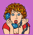 woman is surprised human emotions telephone vector image vector image
