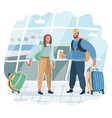 young couple is standing in airport vector image