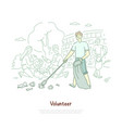 young man with disposal bag cleaning trash vector image