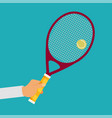 tennis player racket hit the ball vector image
