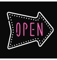 Classic open neon sign dark background business vector image