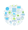 Datacenter Round Composition vector image